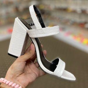 Shoes - White Vegan Crocodile Embossed Print Chunk…